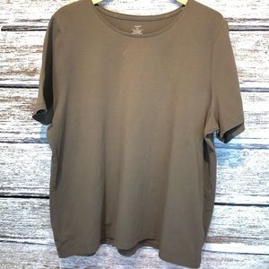 💝 CJ Banks Taupe Short Sleeve Tee T-shirt Size 2X